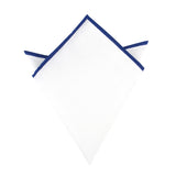 White Cotton Pocket Square with Dark Blue Border 04-WCPS