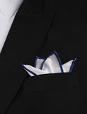 White Cotton Pocket Square with Dark Blue Border Four Point Fold