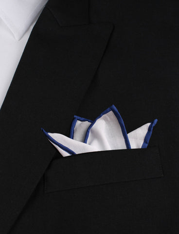 Cotton Pocket Square-Solid White Cotton Pocket Square with Navy Border//Edge