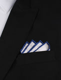 White Cotton Pocket Square with Dark Blue Border Point Fold