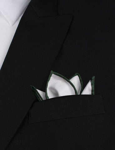 White Cotton Pocket Square with Dark Green Border