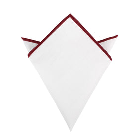 White Cotton Pocket Square with Maroon Border 02-WCPS