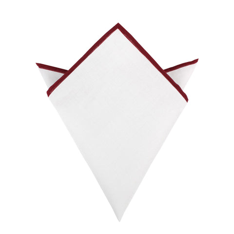 White Cotton Pocket Square with Maroon Border