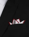 White Cotton Pocket Square with Maroon Border Four Point Fold