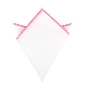 White Cotton Pocket Square with Pink Border 09-WCPS