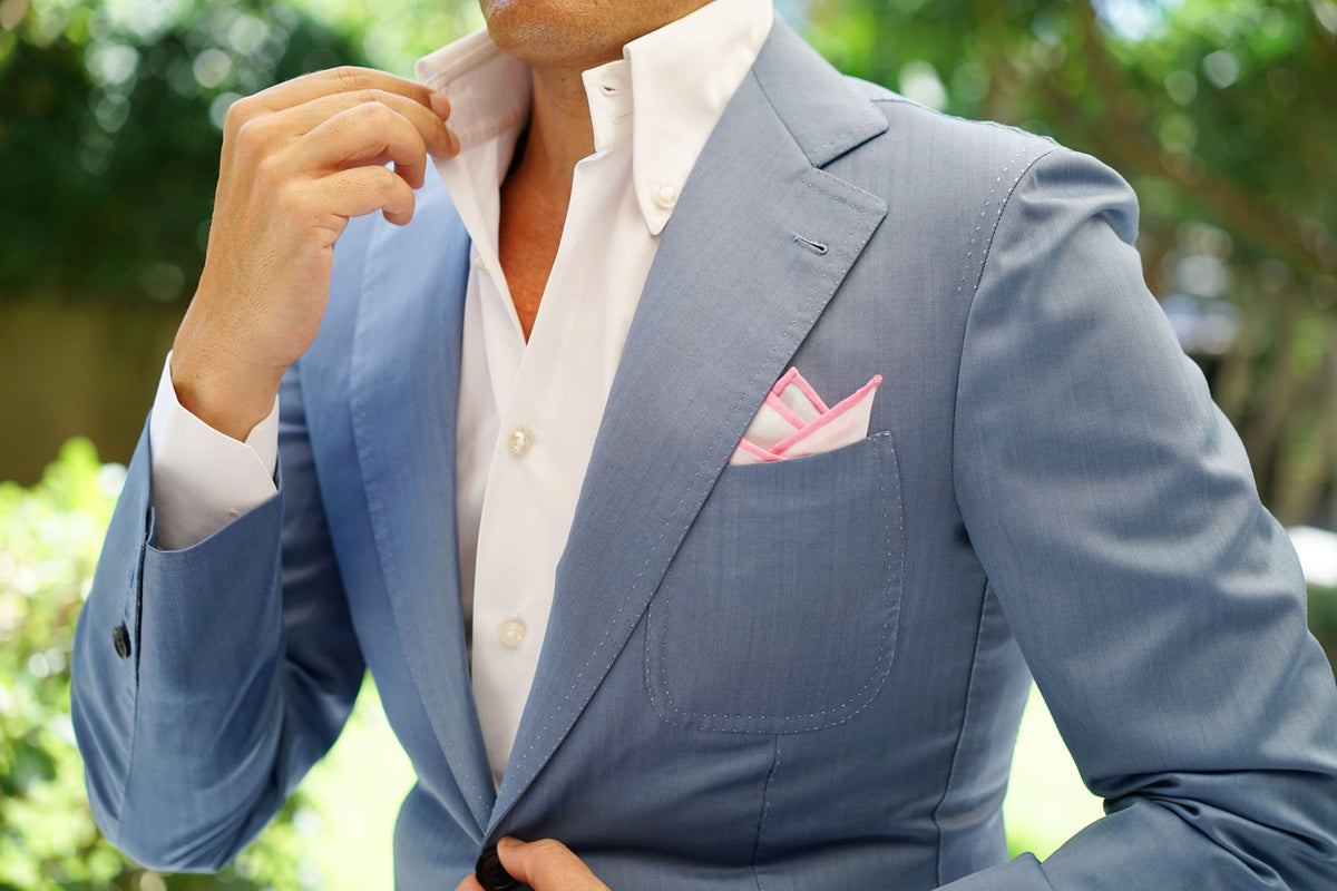 White Cotton Pocket Square with Pink Border