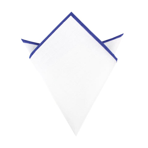White Cotton Pocket Square with Purple Border 10-WCPS