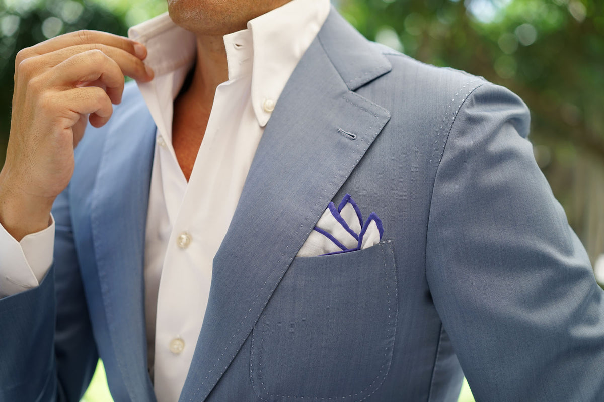 White Cotton Pocket Square with Purple Border