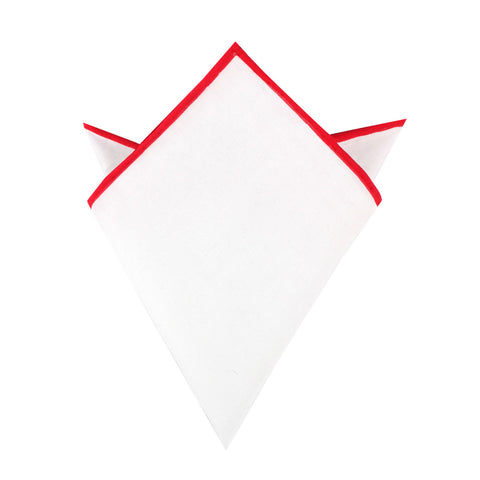 White Cotton Pocket Square with Red Border