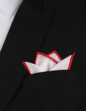 White Cotton Pocket Square with Red Border Four Point Fold