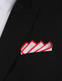 White Cotton Pocket Square with Red Border Point Fold
