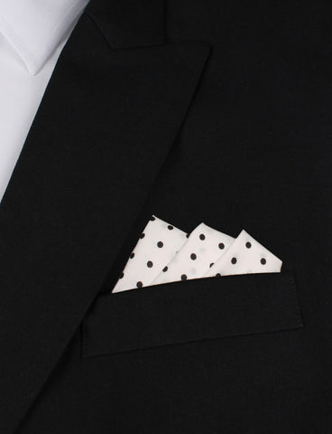 White Cotton with Black Mini Polka Dots Pocket Square