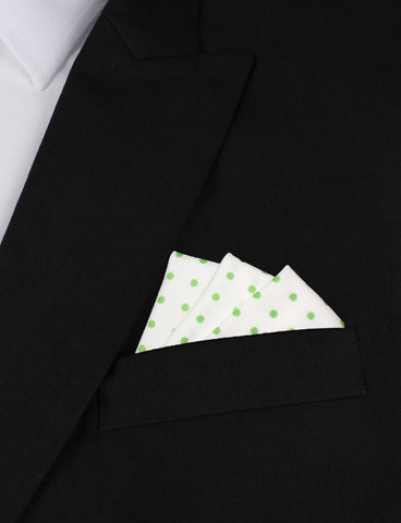 White Cotton with Green Mini Polka Dots Pocket Square