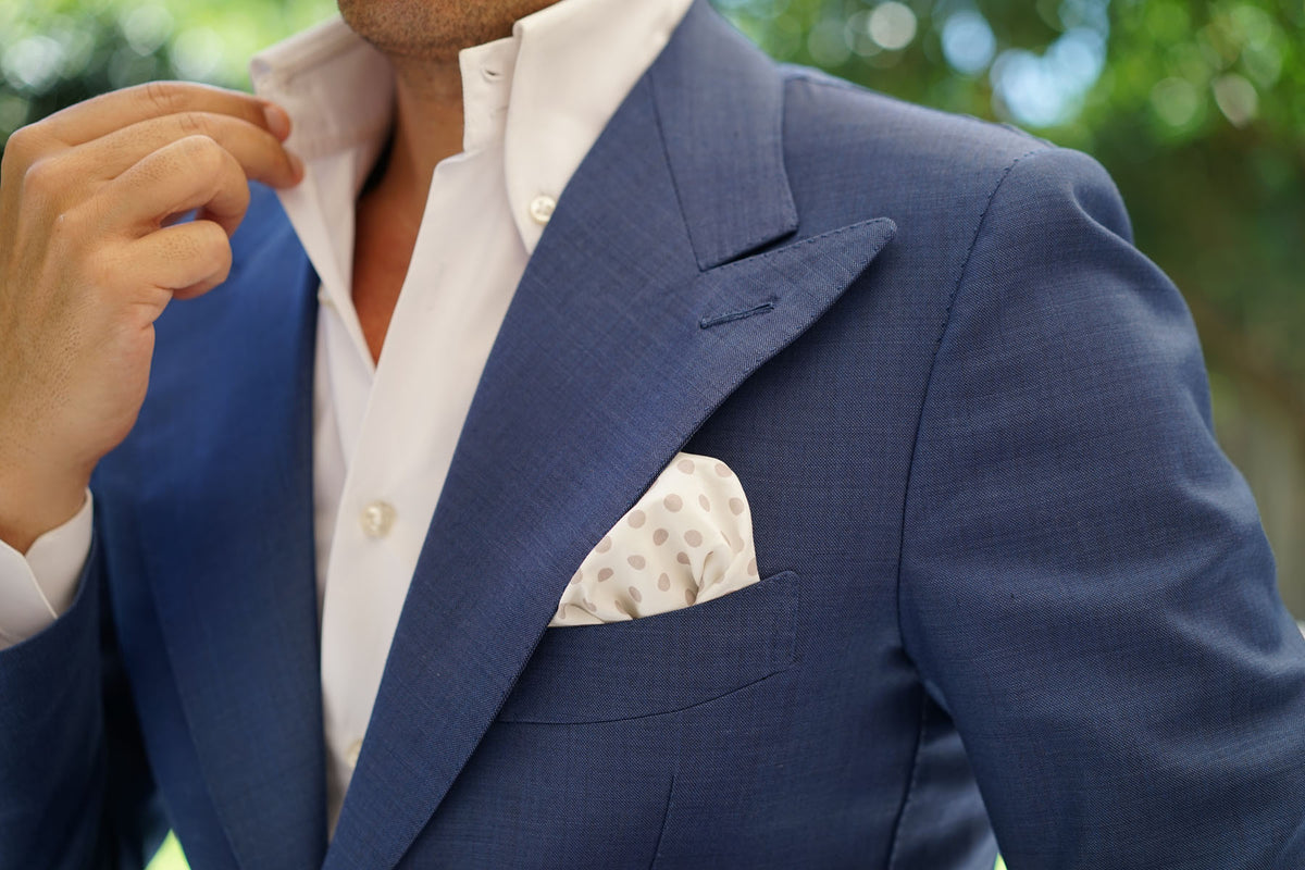 White Cotton with Grey Polka Dots Pocket Square