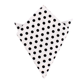 White Cotton with Large Black Polka Dots Pocket Square