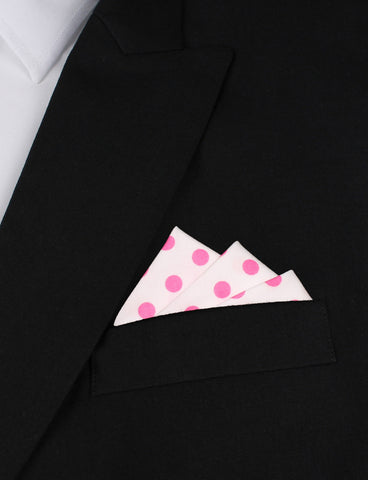 White Cotton with Large Hot Pink Polka Dots Pocket Square