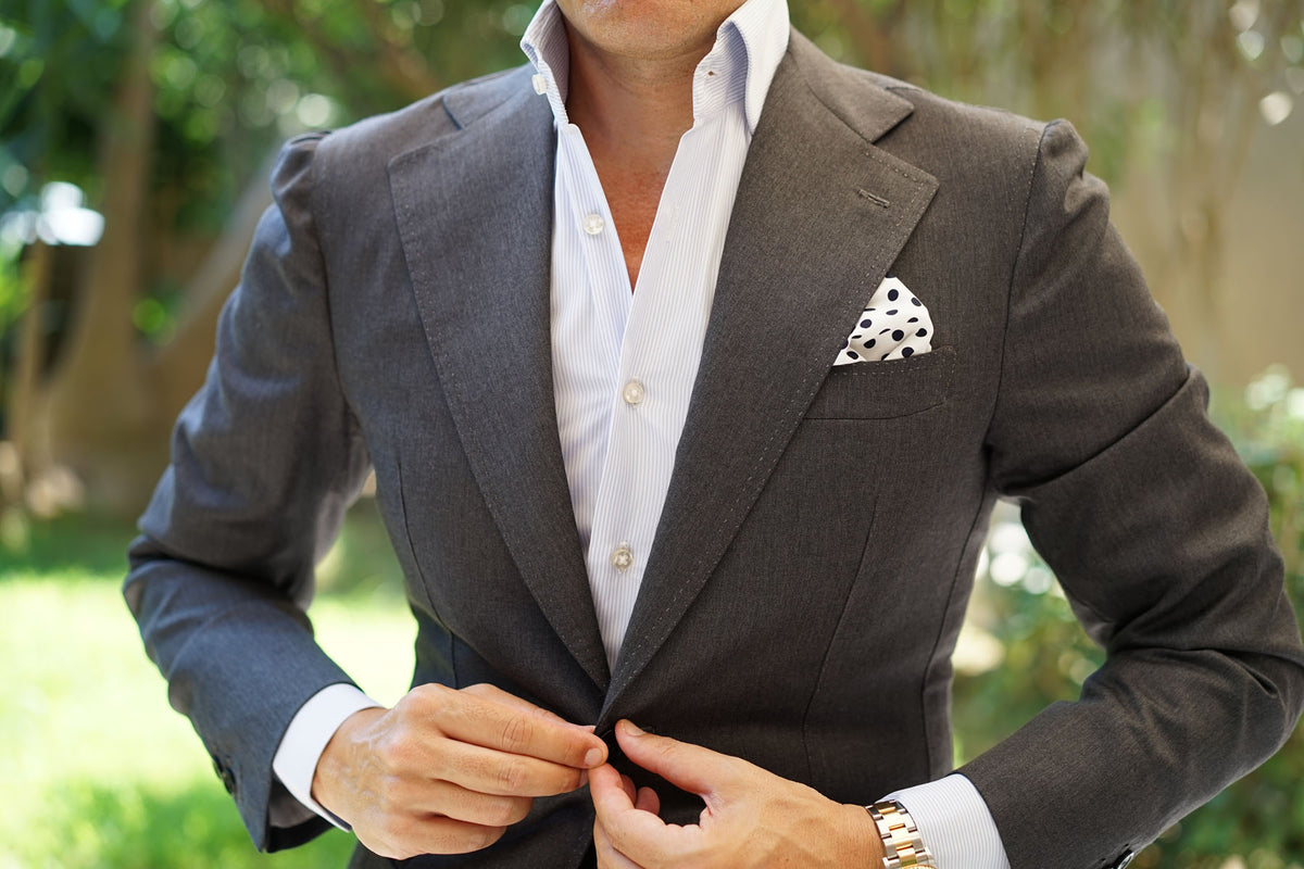 White Cotton with Large Midnight Black Polka Dots Pocket Square