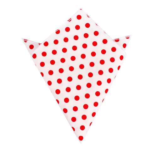 White Cotton with Large Red Polka Dots Pocket Square