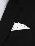 White Cotton with Navy Blue Mini Polka Dots Oxygen Three Point Pocket Square Fold