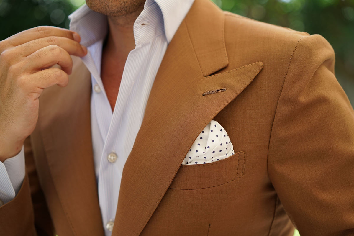 White Cotton with Navy Blue Mini Polka Dots Pocket Square