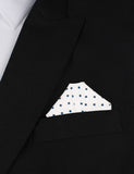 White Cotton with Navy Blue Mini Polka Dots Winged Puff Pocket Square Fold