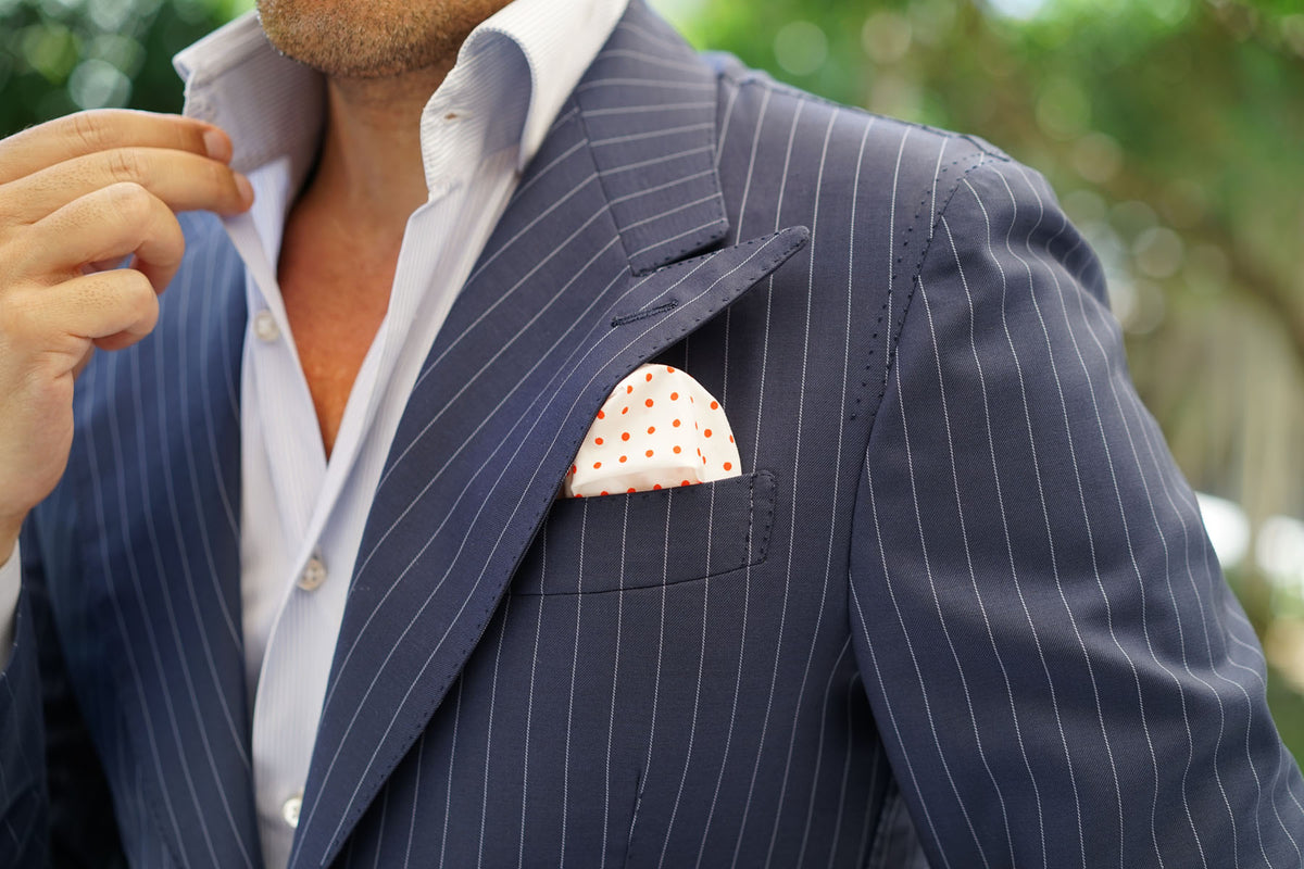 White Cotton with Red Mini Polka Dots Pocket Square