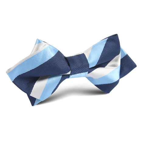 White Navy and Light Blue Striped Diamond Bow Tie
