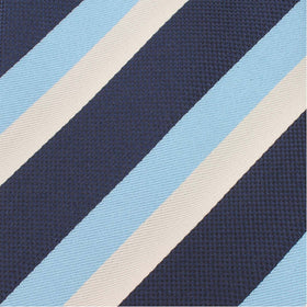 White Navy and Light Blue Striped Bow Tie