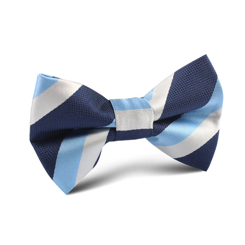 White Navy and Light Blue Striped Kids Bow Tie