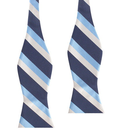 White Navy and Light Blue Striped Bow Tie Untied