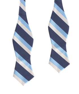 White Navy and Light Blue Striped Self Tie Diamond Tip Bow Tie