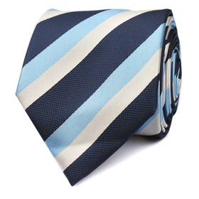 White Navy and Light Blue Striped Skinny Tie