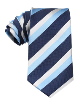 White Navy and Light Blue Striped Tie