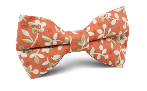 White Orchid Dusty Orange Floral Bow Tie