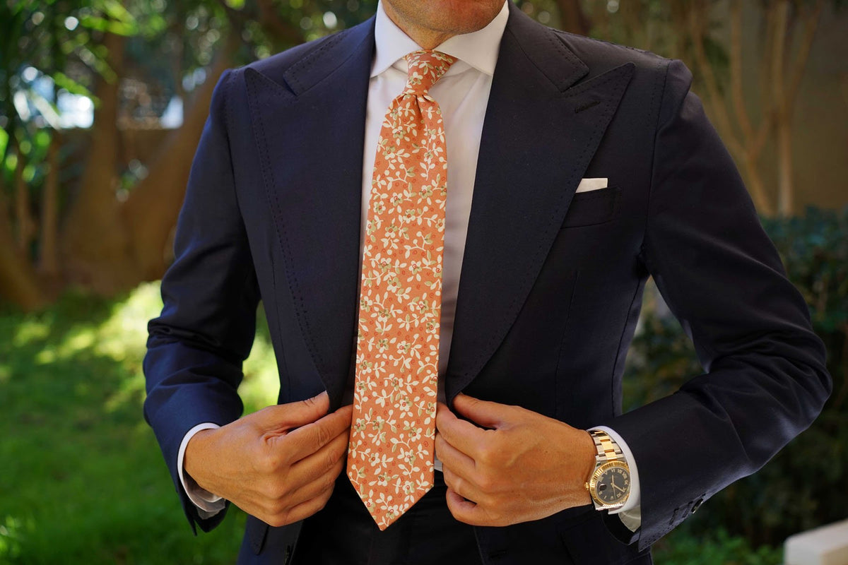 White Orchid Dusty Orange Floral Necktie