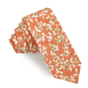 White Orchid Dusty Orange Floral Skinny Tie