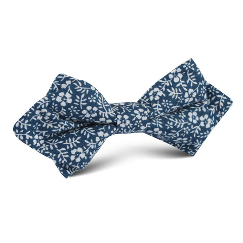 White Orchid Floral Diamond Bow Tie