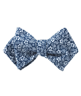 White Orchid Floral Diamond Self Bow Tie