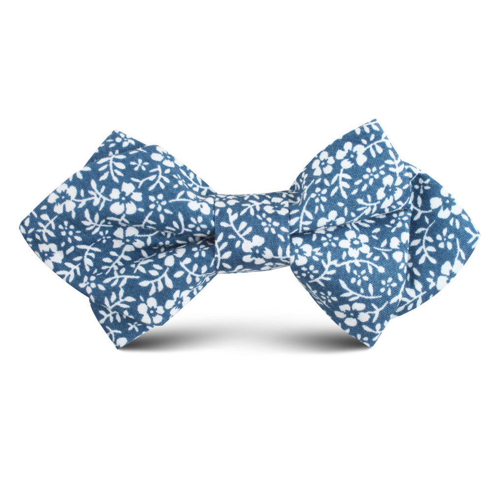 White Orchid Floral Kids Diamond Bow Tie