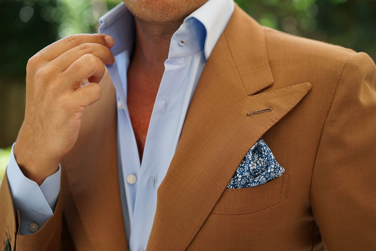 White Orchid Floral Pocket Square