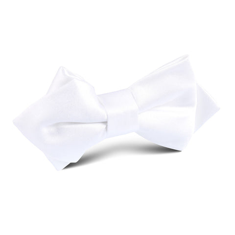 White Satin Diamond Bow Tie