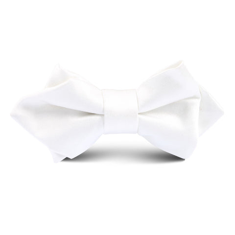 White Satin Kids Diamond Bow Tie