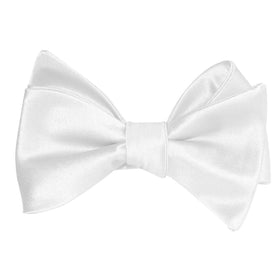 White Satin Self Tie Bow Tie