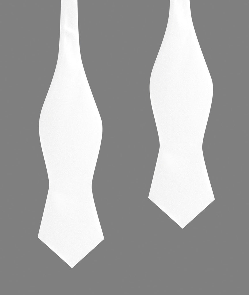 White Satin Self Tie Diamond Tip Bow Tie