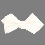 White Satin Self Tie Diamond Tip Bow Tie 2