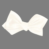 White Satin Self Tie Diamond Tip Bow Tie 3