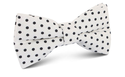 White with Black Polkadot Cotton Bow Tie