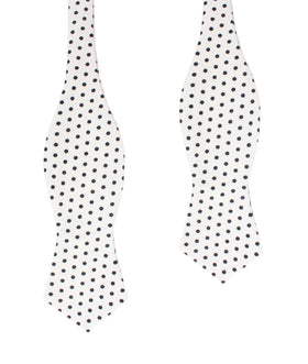 White with Black Polkadot Cotton Diamond Self Bow Tie
