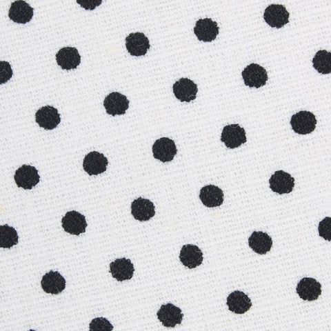 White with Black Polkadot Cotton Kids Bow Tie