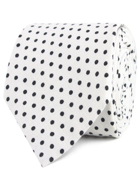 White with Black Polkadot Cotton Tie